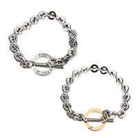 Couple Bracelet, Stainless Steel, plated, with letter pattern, 22mm, 9x28.5x4mm, 9mm, 18mm, 7x21x3mm, 7mm, Length:Approx 8 Inch, Approx  7 Inch, 2Strands/Set, Sold By Set