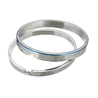 Stainless Steel Couple Bangle, plated, 8x2.5mm, 6x2.5mm, Inner Diameter:Approx 61x50mm, 58x48mm, 2PCs/Set, Sold By Set