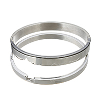 Stainless Steel Couple Bangle, original color, 8x2.5mm, 6x2.5mm, Inner Diameter:Approx 60x50mm, 58x48mm, 2PCs/Set, Sold By Set