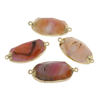 Ice Quartz Agate Connector, with Zinc Alloy, gold color plated, druzy style & 1/1 loop, mixed colors, 46x21x8mm-48x22x11mm, Hole:Approx 2mm, Sold By PC
