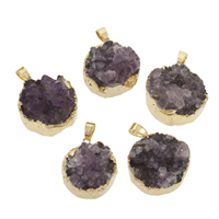 Ice Quartz Agate Pendant, with Zinc Alloy, Flat Round, gold color plated, druzy style, purple, 22x26x10mm-26x29x17mm, Hole:Approx 4x7mm, Sold By PC