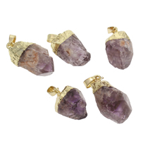 Amethyst Pendant, with Zinc Alloy, gold color plated, 16x24x17mm-17x34x18mm, Hole:Approx 4x7mm, Sold By PC