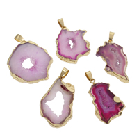 Ice Quartz Agate Pendant, with Zinc Alloy, gold color plated, druzy style, purple, 22x36x5-32x38x6.5mm, Hole:Approx 4x7mm, Sold By PC