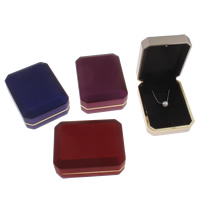 Velveteen Necklace Box, with Cardboard & Zinc Alloy, Octagon, gold color plated, more colors for choice, 70x92x36mm, Sold By PC
