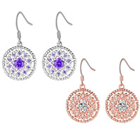 Cubic Zirconia Micro Pave Brass Earring, Flat Round, plated, micro pave cubic zirconia & for woman & hollow, more colors for choice, 15x32mm, Sold By Pair