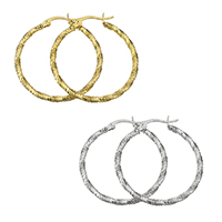 Stainless Steel Hoop Earring, plated, for woman, more colors for choice, 34x37x2.5mm, Sold By Pair