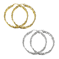 Stainless Steel Hoop Earring, plated, for woman, more colors for choice, 54x57x5mm, Sold By Pair