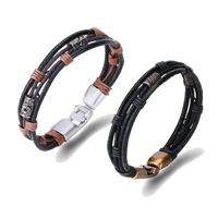 comeon® Jewelry Bracelet, Cowhide, with Waxed Nylon Cord & Zinc Alloy, plated, Unisex, more colors for choice, Length:Approx 8.5 Inch, Sold By Strand