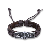 comeon® Jewelry Bracelet, Cowhide, with Waxed Nylon Cord & Zinc Alloy, Peace Logo, antique silver color plated, Unisex & adjustable, Length:Approx 6.7 Inch, Sold By Strand