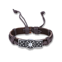comeon® Jewelry Bracelet, Cowhide, with Waxed Nylon Cord & Zinc Alloy, antique silver color plated, Unisex & adjustable, Length:Approx 6.7 Inch, Sold By Strand