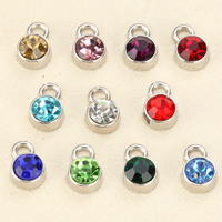 Crystal Jewelry Pendants, Stainless Steel, with Crystal, Flat Round, faceted, mixed colors, 6mm, Hole:Approx 1.5mm, Sold By PC