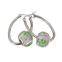 Stainless Steel Hoop Earring, with Lampwork, silver foil, original color, 21x32x2mm, 10.5x13mm, Sold By Pair
