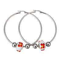 Stainless Steel Hoop Earring, with Lampwork, original color, 59.5x61x2mm, 10x16mm, 6x8mm, Sold By Pair