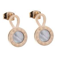 White Shell Earrings, Stainless Steel, with White Shell, gold color plated, with roman number, 10x16x2mm, Sold By Pair