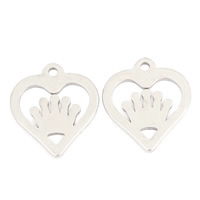 Stainless Steel Heart Pendants, original color, 13x15x1mm, Hole:Approx 1mm, Sold By PC
