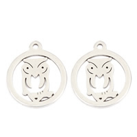 Stainless Steel Animal Pendants, Owl, original color, 15x13x1mm, Hole:Approx 1mm, Sold By PC