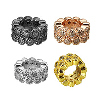 Cubic Zirconia Micro Pave Brass European Bead, Donut, plated, different size for choice & micro pave cubic zirconia, more colors for choice, Sold By PC