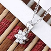 Cubic Zirconia Brass Pendants, Flower, real silver plated, with cubic zirconia, nickel, lead & cadmium free, 7x14mm, Hole:Approx 2-3mm, Sold By PC