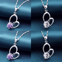 Cubic Zirconia Brass Pendants, Heart, real silver plated, with cubic zirconia, more colors for choice, nickel, lead & cadmium free, 27x14mm, Hole:Approx 2-3mm, Sold By PC
