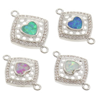 Cubic Zirconia Micro Pave Brass Connector, with Opal, Rhombus, platinum color plated, micro pave cubic zirconia & 1/1 loop, more colors for choice, nickel, lead & cadmium free, 13.5x18x3mm, Hole:Approx 1mm, Sold By PC