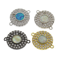 Cubic Zirconia Micro Pave Brass Connector, with Opal, Flat Round, plated, micro pave cubic zirconia & 1/1 loop, more colors for choice, nickel, lead & cadmium free, 18x14x2mm, Hole:Approx 1mm, Sold By PC