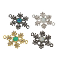 Cubic Zirconia Micro Pave Brass Connector, with Opal, Snowflake, plated, micro pave cubic zirconia & 1/1 loop, more colors for choice, nickel, lead & cadmium free, 19x13x1.5mm, Hole:Approx 1mm, Sold By PC