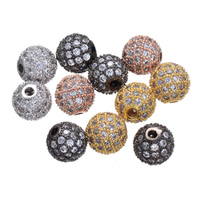 Cubic Zirconia Micro Pave Sterling Silver Bead