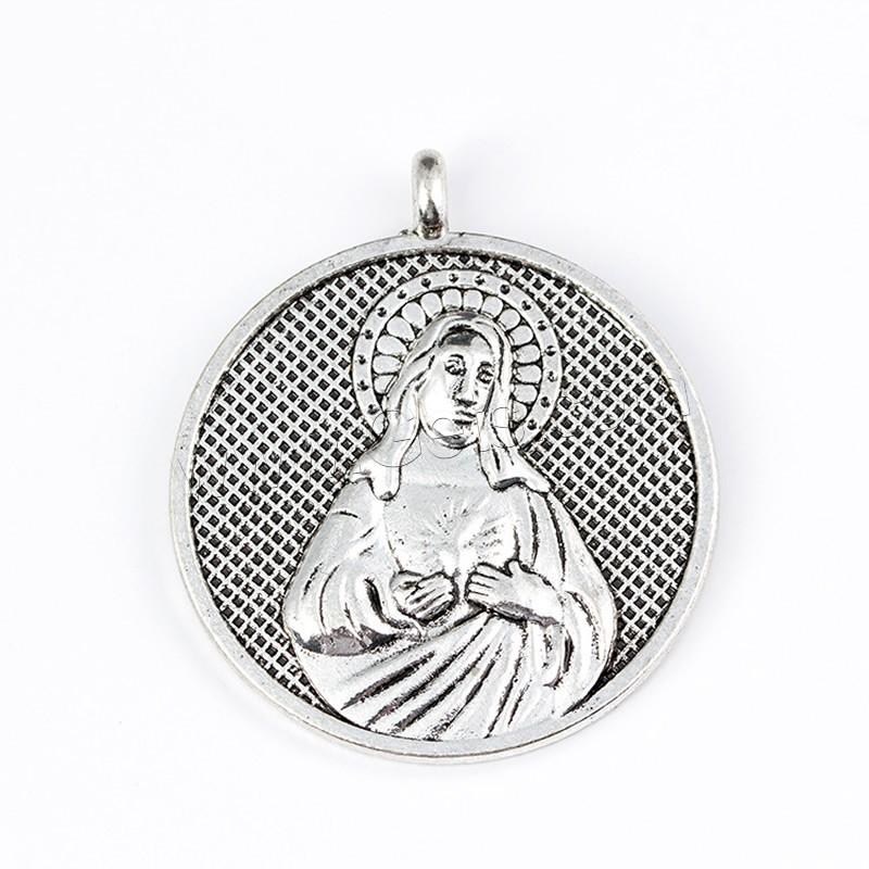 Zinc alloy christian pendant flat round antique silver