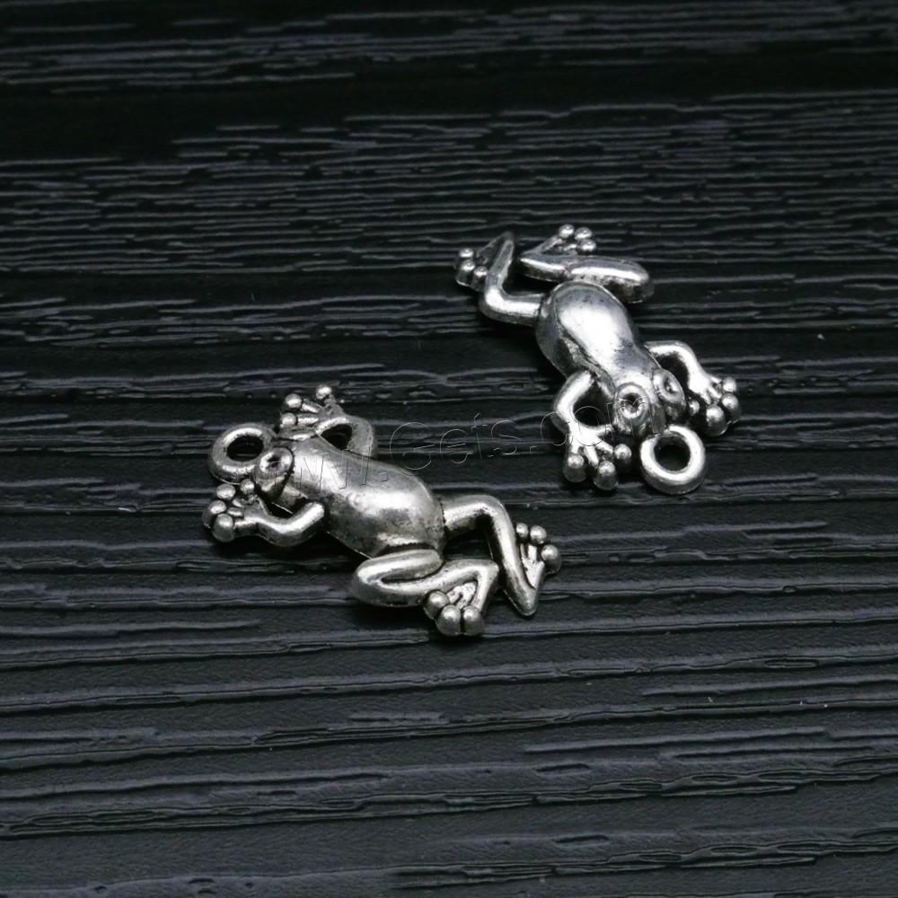 Zinc alloy animal pendants frog antique silver color